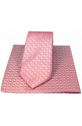 Soprano Pink Circular Chain Design Silk Tie And Hanky Set