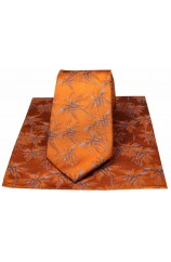 Soprano Burnt Orange Palm Tree's Silk Tie And Hanky