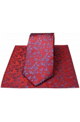 Soprano Red With Small Blue Flowers Silk Tie & Hanky