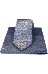 Soprano Silver With Small Blue Flowers Silk Tie & Hanky