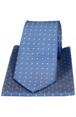 Soprano Blue With Small Polka Dots Silk Tie And Hanky Set