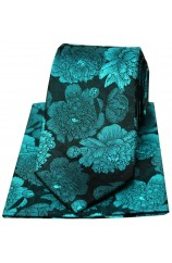 Soprano Turquoise And Teal Large Flowers Silk Tie And Hanky Set