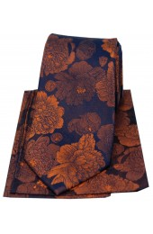 Soprano Brown And Burnt Orange Large Flowers Silk Tie And Hanky Set