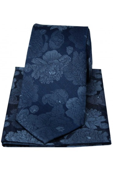 Soprano Large Blue Flowers Luxury Silk Tie And Hanky Set