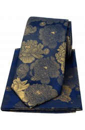 Soprano Navy Ground With Large Gold Flowers Silk Tie And Hanky Set
