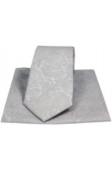Wedding Silver Paisley Silk Tie And Pocket Square