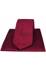 Soprano Wine Luxury Tonal Paisley Silk Tie And Hanky Set