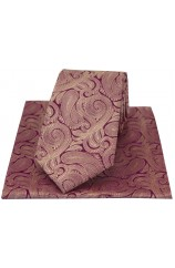Soprano Purple Ground With Fuchsia Paisley Luxury Silk Tie And Hanky