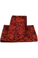 Soprano Rust Luxury Paisley Silk Tie And Hanky Set