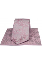 Soprano Cotton Candy Pink Paisley Silk Tie And Hanky