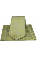 Soprano Wedding Gold Paisley Silk Tie And Hanky