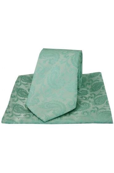 Soprano Luxury Cyan Paisley Silk Tie And Hanky