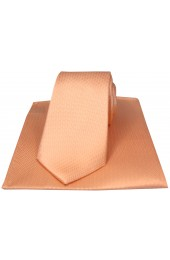 Soprano Peach Herringbone Silk Tie and Pocket Square