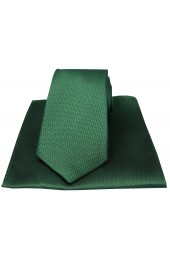 Soprano Racing Green Herringbone Silk Tie And Hanky Set