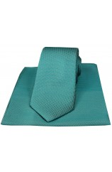 Soprano Teal Herringbone Silk Tie And Hanky Set