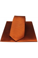 Soprano Rust Herringbone Silk Tie And Hanky Set