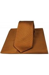 Soprano Copper Herringbone Silk Tie And Hanky Set