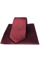Soprano Cherry Herringbone Silk Tie And Hanky Set