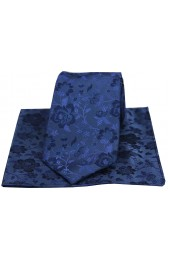 Soprano Mid Blue Floral Pattern Silk Tie And Hanky