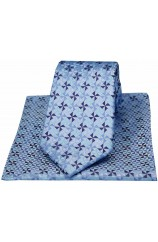 Blue Windmill Design Silk Tie And Hanky