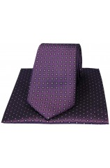 Purple Neat Small Flowers design Silk Tie And Hanky