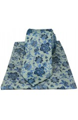 Soprano Duck Egg Blue Floral Luxury Silk Tie And Hanky