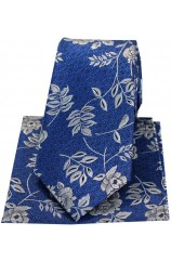 Soprano Blue Flower And Leaf Silk Tie And Hanky Set