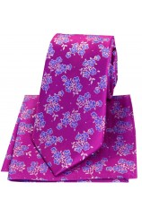 Soprano Magenta Small Flowers Luxury Silk Tie And Hanky