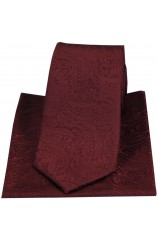 Soprano Tonal Wine Classic Paisley Silk Tie And Pocket Square