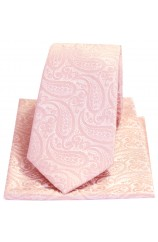 Soprano Tonal Pink Classic Paisley Silk Tie And Pocket Square