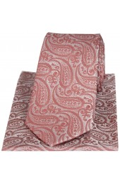 Soprano Tonal Fuchsia Paisley Silk Tie And Pocket Square