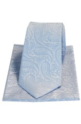 Soprano Tonal Sky Blue Paisley Silk Tie And Pocket Square