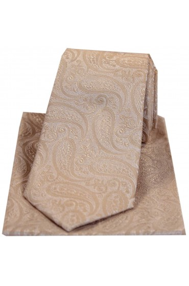 Soprano Tonal Beige Paisley Silk Tie And Pocket Square