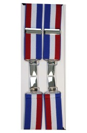 Union Jack  Coloured Stripes 4 Clip Trouser Brace