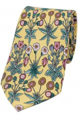 Yellow With Multi Coloured Flowers Silk Tie