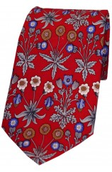 Red With Multi Coloured Flowers Luxury Silk Tie