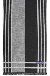 Erwin & Morris Grey Black Striped Scarf Supplied In A Gift Box
