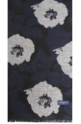 Erwin & Morris Black Blue With Grey Large Flower Scarf Supplied In A Gift Box