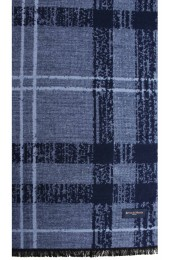Erwin & Morris Navy Blue Check Mens Scarf Supplied in a Gift Box