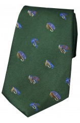 Soprano Fishing Themed Silk Tie On Racing Green Ground