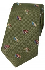 Soprano Fishing Flies On Country Green Ground Country Silk Tie