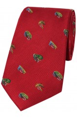 Soprano Fishing Flies On Red Ground Country Silk Tie