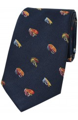 Soprano Fishing Flies On Navy Blue Ground Country Silk Tie