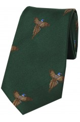 Soprano Flying Pheasants On Forest Green Ground Country Silk Tie