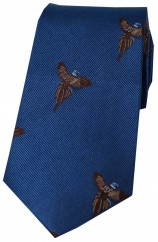 Soprano Flying Pheasants On Blue Ground Country Silk Tie