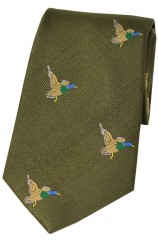 Soprano Flying Ducks On Country Green Ground Country Silk Tie