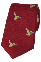 Soprano Flying Ducks On Red Ground Country Silk Tie