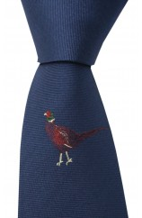 Soprano Single Motif Standing Pheasant On Navy Ground Country Silk Tie