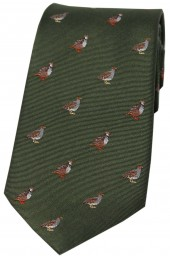 Soprano Grouse and Partridge On Green Ground Country Silk Tie