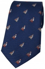 Soprano Grouse and Partridge On Blue Ground Country Silk Tie